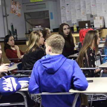 Junior Class Cabinet discusses and listens to Mrs. Moreno talk about the details of prom. There was a discussion of color schemes and themes.