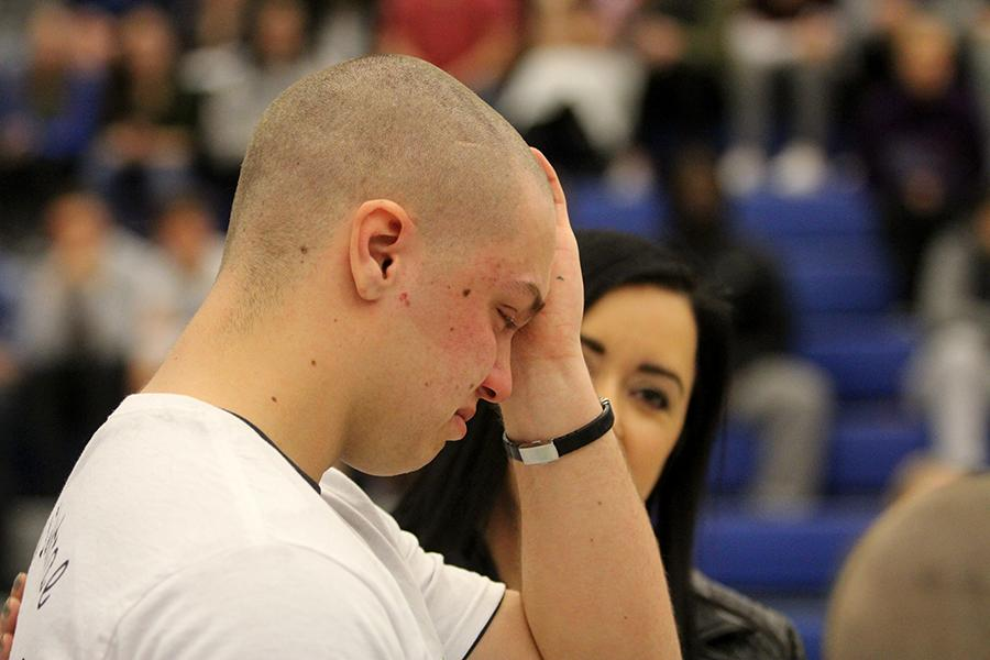 Parker Bryant (12) cries thinking about what people who have cancer have to go through. Bryant was the team leader for the Senior Baldrick's team.