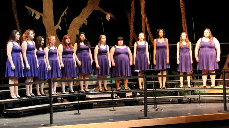 Trebleaires sings on the stage. The choir concert took place on March 7.