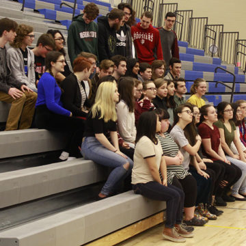 Thespians pose for their club photo. Many of the students involved in this club do multiple shows throughout the year.