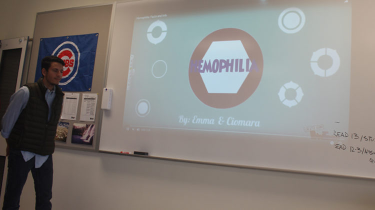 The officer shows a video on the development and impact of hemophilia. The club set a certain goal and also help benefit their member's family who struggles with hemophilia.