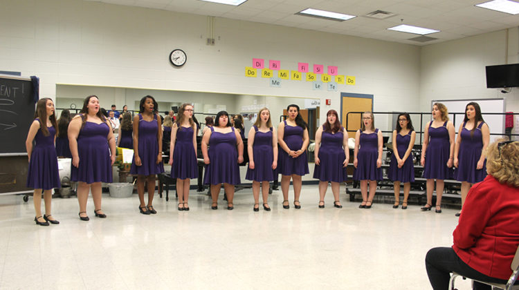 The Trebleaires perform at State. The group received gold for their performance.