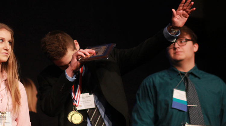 Mathew Matakovic (11) dabs as he placed third in SQL Database. Last year, Matakovic also dabbed during the Awards Ceremony.