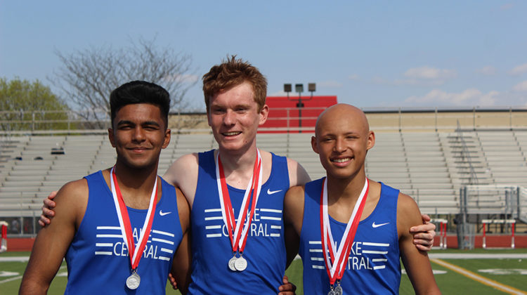 Issac Beatty (10), Carter Goldman (10) and Gurvir Gill (10) left pose for a picture after winning second place at the Dick Bebe invitational. The boys ran the freshman sophomore 4X4 and other races.