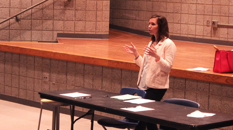 Mrs. Kelsey Becich, English, talks to the students about the changes for the next school year. She explained that she wants the students to have more power in running the club and that there will be officers in the 2017-18 school year.