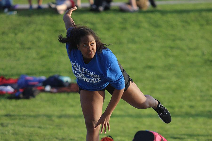 Makeda Ellis (10) taking her third throw in the Michigan City meet.  Ellis placed 2nd in the meet.   Photo by: Abby Hines.