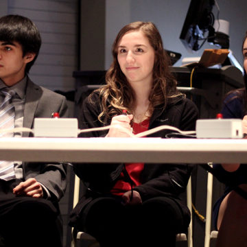 Matthew Mireles (12), Lauren Davidson (11) and Hannah Souronis (12) appear perplexed after they were asked a trivia question. Winners of the round received Subway gift cards.