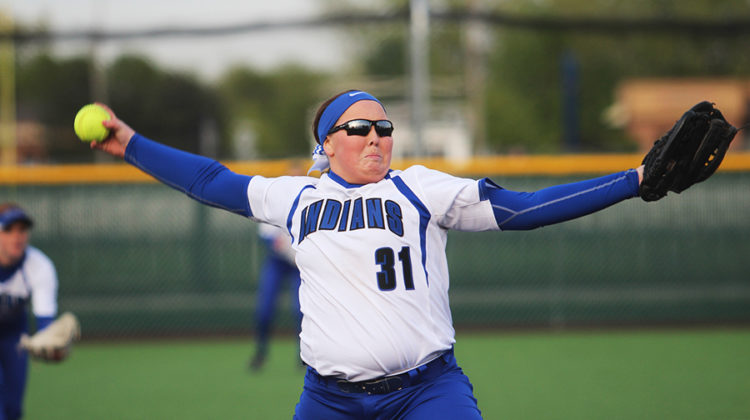 Jenna Towle (10) throws a pitch. She started pitching during the second half of the game against Penn.