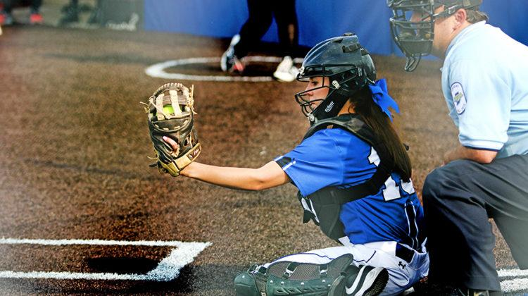 Ashley Swets (10) catches the ball. The Lake Central girls Varsity softball team played against Griffith.