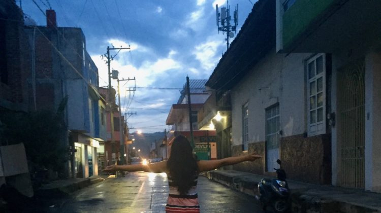Photo submitted by Dayanne Gaona: Dayanne Gaona (11) stands in the middle of a popular street in Mexico. Gaona felt emotionally connected with the values of Mexico and its people.