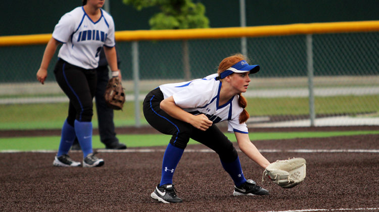 Jessica Kiefor (11) prepares to field the ball.  Keifor has committed to play softball for Ball State University