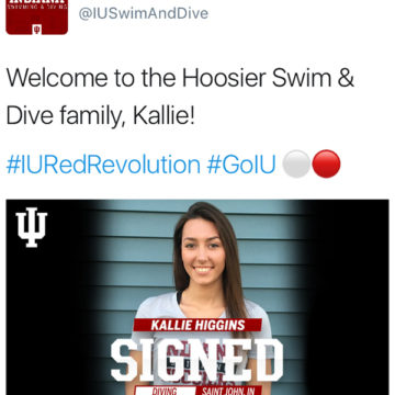 On Wednesday, May 17, the Indiana University Women's Swimming and Diving Twitter account announces that Kallie Higgins (12) signed with the school. Higgins signed with the Hoosiers after Clemson University terminated its women's diving program.