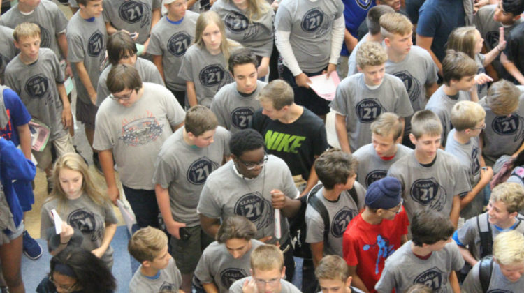 Freshman head to the lunchroom. Lunch was served immediately after the class picture was taken.