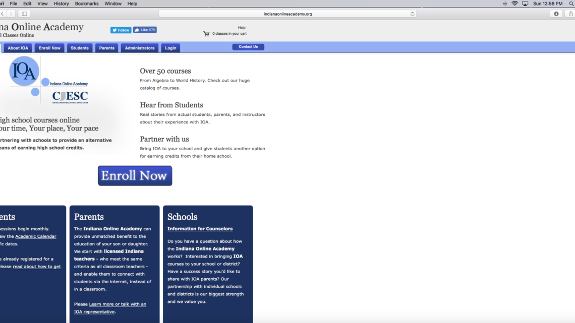 The Indiana Online Academy website sits open on a computer. IOA was a program started by the Central Indiana Education Service Center.