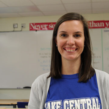Mrs. Kelsey Becich, English, smiles for the camera. She has been the head sponsor of N-Teens for the past four years.