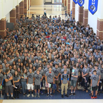 Class of 2021 stands in Main Street for the first time as one large class.