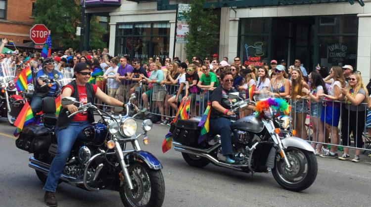 A group of bikers make sure to hype up the crowd before they drive off. An estimated amount of one million people attended this year's Chicago Pride Parade.