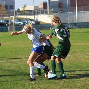 Rachel Roberts (10) attempts to save the ball. The Indians defeated Concord on Saturday, Sept. 16.