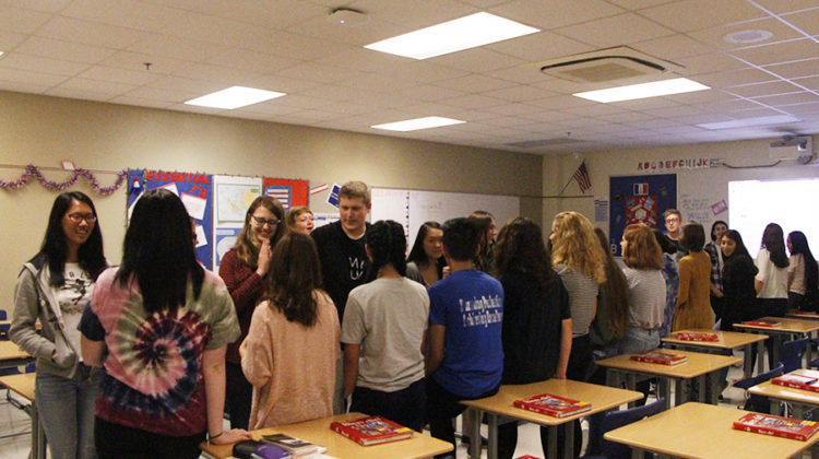 Ms. Beverly Bovard, World Language, helps French Club students get to know one another by playing a speed-dating game. Students had 20 seconds to introduce themselves in French and give two interesting facts about themselves.