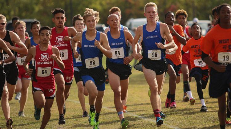 William Duzynski (12), Issac Beatty (11) and Joseph Copeland (12) start down the line. Duzynski took first place, Copeland took third place and Beatty took fourth place. Photo by: Josh Chen