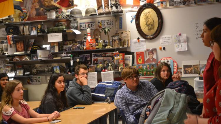 The students listen intently to the speakers' information.  The clubs next meeting is next Tuesday, October 10.