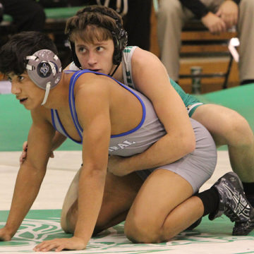 Cristian Ponce (10) getting ready to start his match.  The next meet will be held at Crown Point Dec. 9.