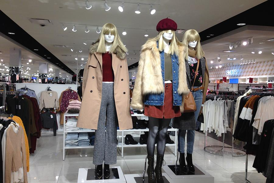 New clothing trends are showcased in Forever 21 to attract customers. The store is very popular among high school students.