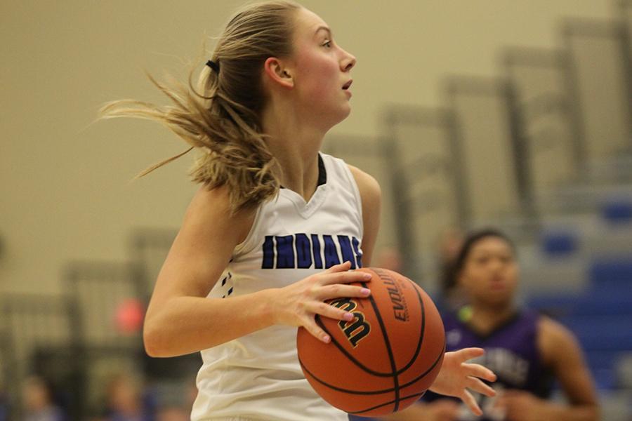 Lauren Ladowski looks for her teammates. Ladowski had been on varsity since her freshman year.
