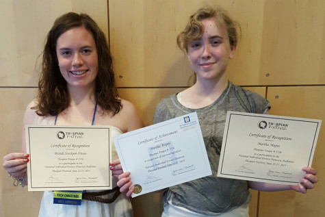 Brandilyn Stockton-Fresso ('15) and Martha Mapes (12) show their Individual Event Certificates. Stockton-Fresso competed in the set design event, and Mapes competed in the short film event. Photo submitted by Mr. Ray Palasz, English.