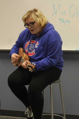 "Briana Sambrooks (9) sings ""Taking Back My Heart"" by Rusty Clanton. Sambrooks also performed ""Safe and Sound"" by Taylor Swift this Open Mic."