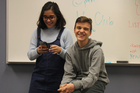 """Kaylie Katsiris (10) and Radosav Mihajlovic (10) sing """"The Longest Time"""" by Billy Joel. They have been members of the club since the beginning of this year."""