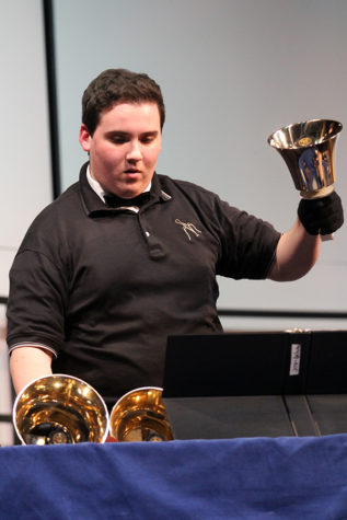 Joshua Dejarlais (11) switches bells as he performs. This was the second concert of the year.
